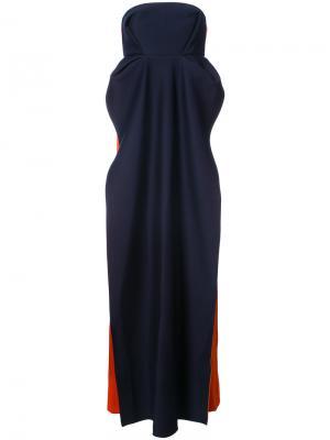 Платье колор блок без бретелек Delpozo. Цвет: синий