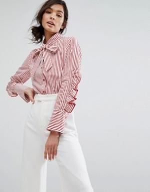 Style Mafia Рубашка в полоску с оборками на рукавах и бантом. Цвет: красный