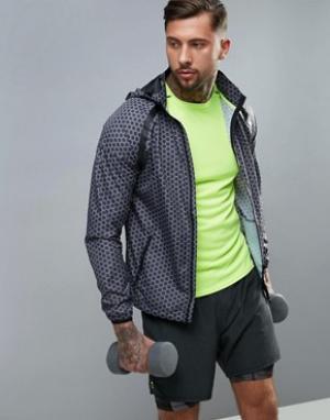New Look Черная спортивная куртка с капюшоном и принтом. Цвет: черный