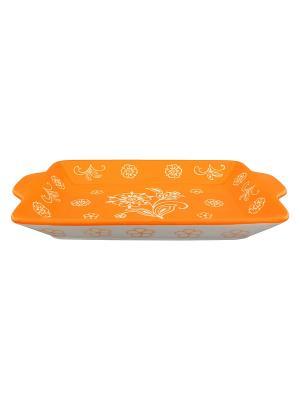 Хлебница Цветочное оранжевое поле Elan Gallery. Цвет: оранжевый