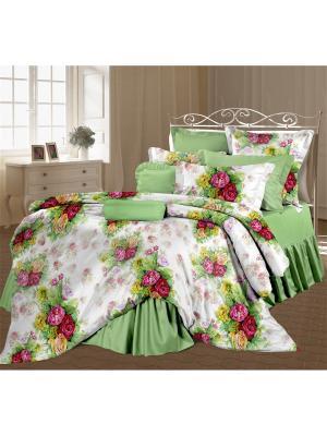 Комплект постельного белья 1,5 перкаль Розелла Романтика. Цвет: салатовый, белый