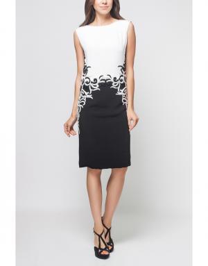 Шелковое платье Reem Acra. Цвет: черный, молочный