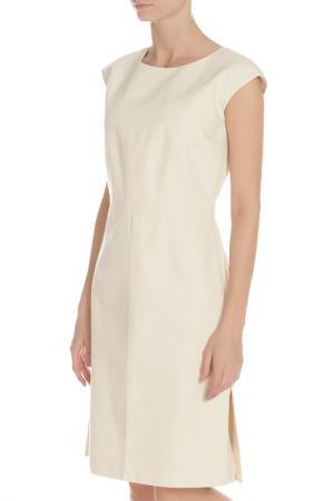 Деловое платье с разрезами Marni. Цвет: бежевый