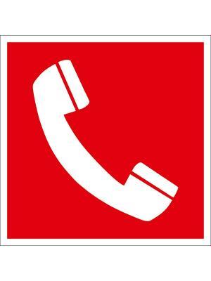 Наклейка информационная Телефон для использования при пожаре (2 шт.) Оранжевый Слоник. Цвет: красный