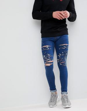 Criminal Damage Черные обтягивающие джинсы с рваной отделкой. Цвет: синий