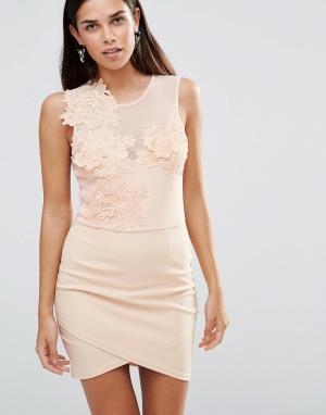 Girl In Mind Облегающее платье с цветочным принтом и сеточкой Aria. Цвет: розовый