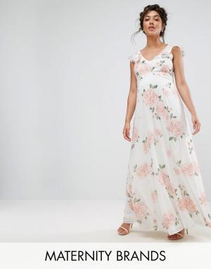 Queen Bee Платье макси с оборками на плечах и цветочным принтом. Цвет: мульти
