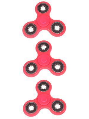 Спиннер с черными вставками однотонный, розовый, набор 3 штуки Радужки. Цвет: розовый
