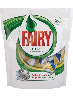 Средство для мытья посуды в капсулах посудомоечных машин All-in-1, 26шт Fairy. Цвет: белый