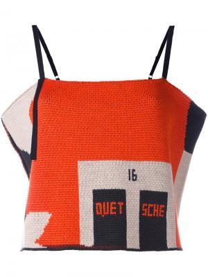 Укороченная трикотажная блузка Quetsche. Цвет: многоцветный