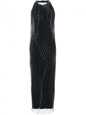 Плетеное длинное платье Iris Van Herpen. Цвет: металлический