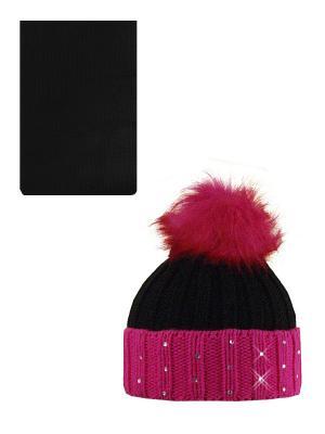 Шапка, шарф Politano. Цвет: черный, розовый