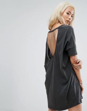 Religion Свободное платье-футболка с принтом и цепочками на спине. Цвет: черный