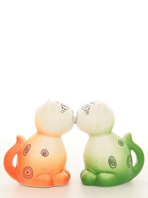 Набор для специй Кошки Elan Gallery. Цвет: белый, зеленый, оранжевый