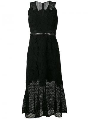 Расклешенное кружевное платье без рукавов Jonathan Simkhai. Цвет: чёрный