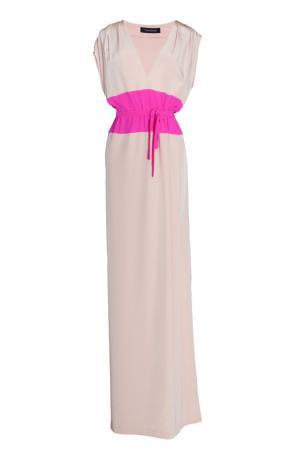 Платье в пол с яркой вставкой Thakoon. Цвет: бежевый