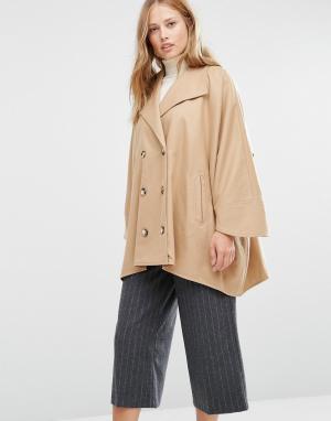Cooper & Stollbrand Бежевое короткое двубортное пальто в стиле oversize Stollbran. Цвет: рыжий