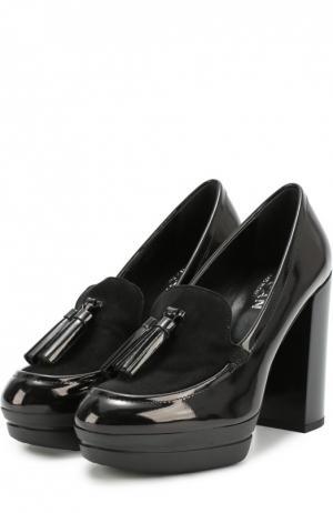 Лаковые туфли с вставкой из замши и кисточкой Hogan. Цвет: черный