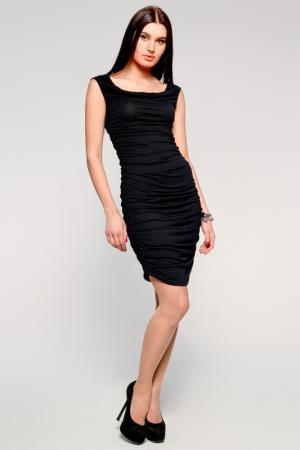 Платье с вертикальной резинкой по бокам PunkQueen. Цвет: black