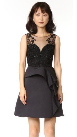 Коктейльное платье с драпировкой Marchesa Notte. Цвет: голубой