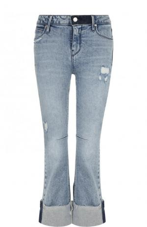 Укороченные расклешенные джинсы с потертостями RTA. Цвет: голубой