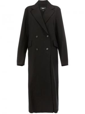 Длинное двубортное пальто Yang Li. Цвет: чёрный