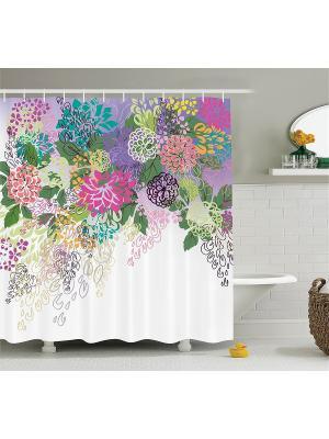 Фотоштора для ванной Яркий цветочный узор, 180*200 см Magic Lady. Цвет: белый, голубой, желтый, зеленый, розовый, салатовый, фиолетовый