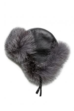 Кожаная шапка с отделкой из меха лисы 125707 Mkc. Цвет: серый