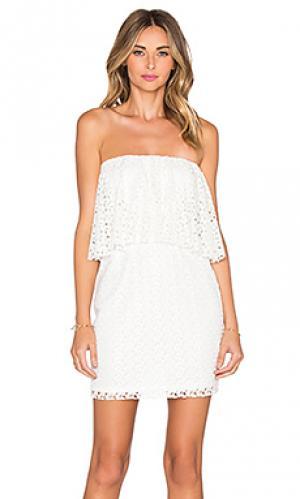 Мини платье без бретелек с рюшами T-Bags LosAngeles. Цвет: белый
