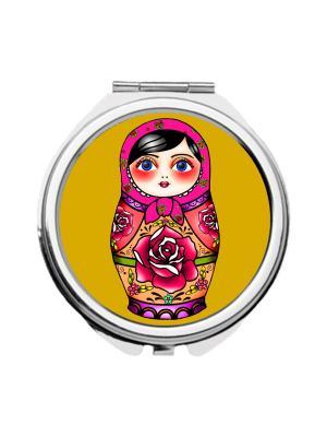 Зеркальце карманное Матрешка в малиновом платке Chocopony. Цвет: черный, малиновый, светло-оранжевый
