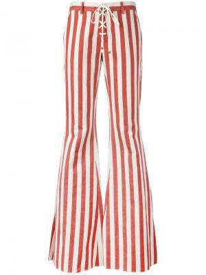 Расклешенные полосатые джинсы Roberto Cavalli. Цвет: красный
