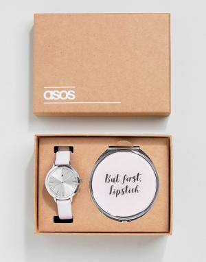 ASOS Подарочный набор с зеркальцем и часами. Цвет: серебряный
