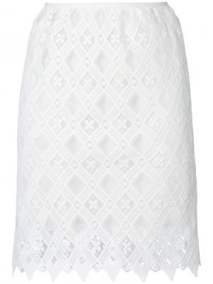 Кружевная юбка Giamba. Цвет: белый