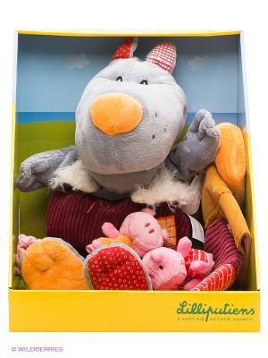 Пальчиковые игрушки Волк и три поросенка Lilliputiens. Цвет: серый, розовый