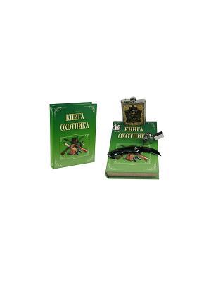 Подарочный набор Охотник: шкатулка, фляжка, воронка, нож, зажигалка Zippo Русские подарки. Цвет: зеленый, бежевый