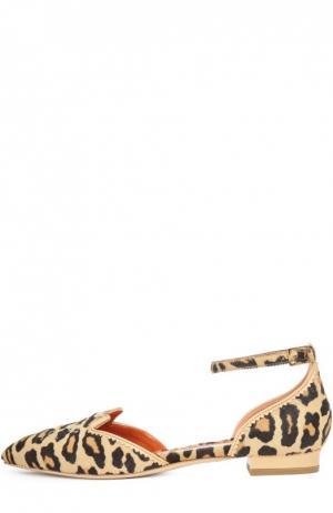 Балетки Kitty с меховой отделкой Charlotte Olympia. Цвет: леопардовый
