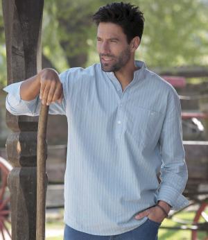 Хлопковая Рубашка AFM. Цвет: в-полоску