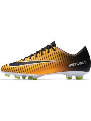 Бутсы MERCURIAL VICTORY VI FG Nike. Цвет: оранжевый, белый, черный
