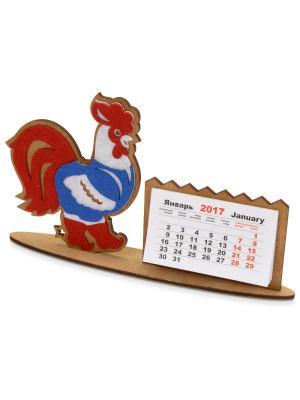 Настольный календарь Петушок в жилетке Дерево Счастья. Цвет: белый