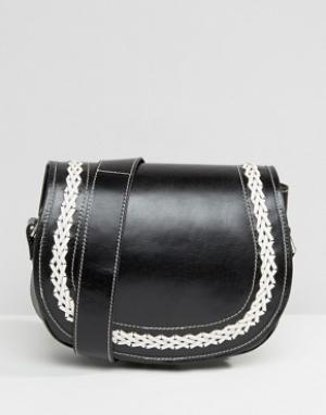 Park Lane Кожаная сумка через плечо с контрастными строчками. Цвет: черный