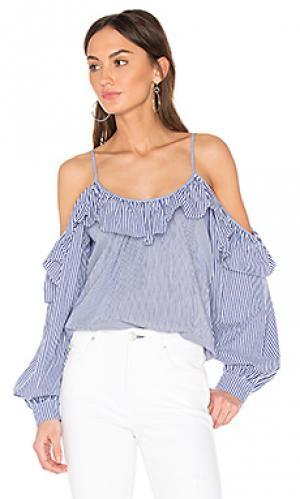 Комбинированная блуза maureen Parker. Цвет: синий