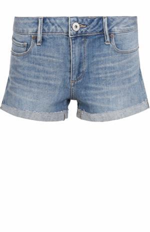 Джинсовые мини-шорты с потертостями Paige. Цвет: голубой