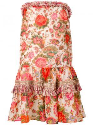Платье с принтом без бретелек Anjuna. Цвет: белый