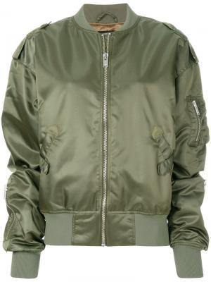 Атласная куртка-бомбер Misbhv. Цвет: зелёный
