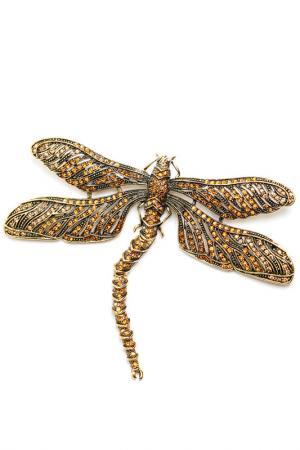 БрошьВинтажная стрекоза Patricia Bruni. Цвет: бронзовый, коньячный