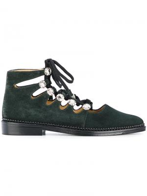 Туфли со шнуровкой и декором Toga Pulla. Цвет: зелёный