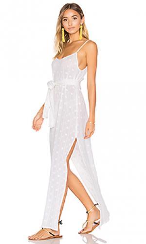 Платье-комбинация с поясом SHE MADE ME. Цвет: белый