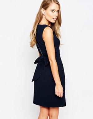 Closet London Платье миди с разрезом спереди и завязкой сзади. Цвет: темно-синий