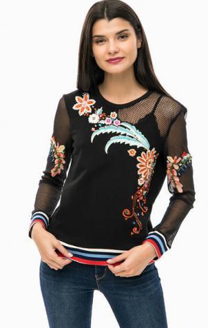 Черный свитшот с яркой цветочной вышивкой Desigual. Цвет: черный