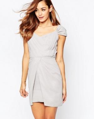 VLabel London Платье мини с открытыми плечами Bayliss. Цвет: серый